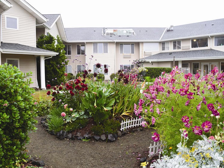 Courtyard With Green Space at Oceanview Senior Living, Newport