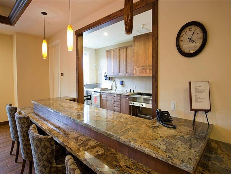 Fitted Kitchen With Island Dining at Westmont of Morgan Hill, Morgan Hill, California