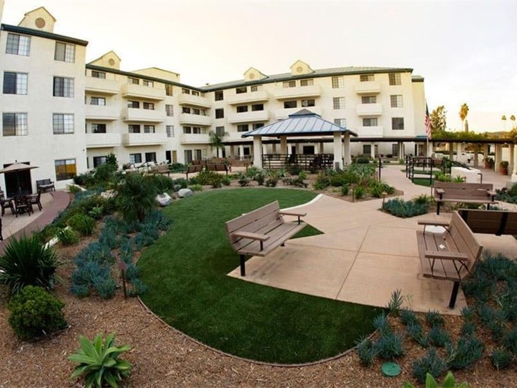 Spacious, Landscaped Patio and Private Courtyard at Westmont Town Court, Escondido