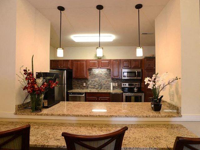 Modern Community Room Kitchen at Highlands at Riverwalk Apartments 55+, Wisconsin 53092