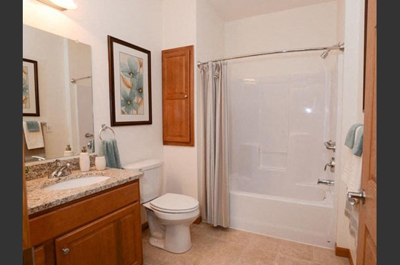 Spacious Bathrooms With Garden Tubs at Highlands at Riverwalk Apartments 55+, 10954 N Cedarburg Road, Mequon
