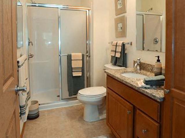Spacious Bathrooms With Granite Style Countertops at The Highlands at Mahler Park Apartments 55+, Neenah, Wisconsin
