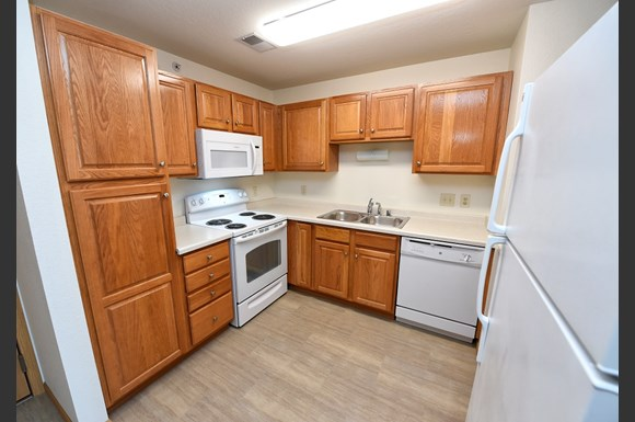 Kitchen with White Appliance Package