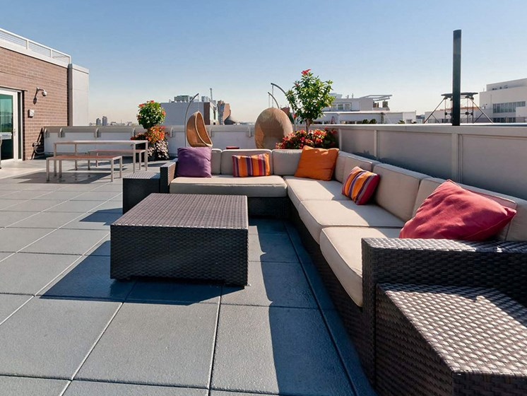 Rooftop Terrace Seating at 34 Berry, Brooklyn, New York