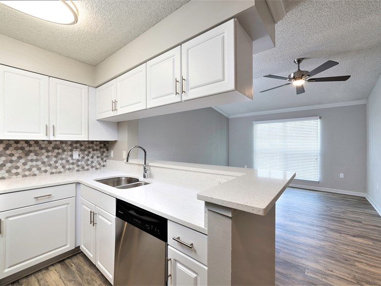 Kitchen With White Cabinetry at Lincoln Pointe, Aventura, Florida