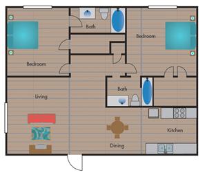 B2 Floor Plan at Jewel, Texas