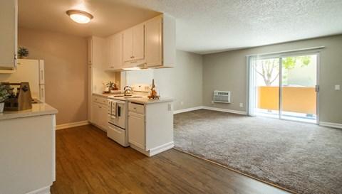 Las Ventanas Apartments Empty Apartment Kitchen & Living Room