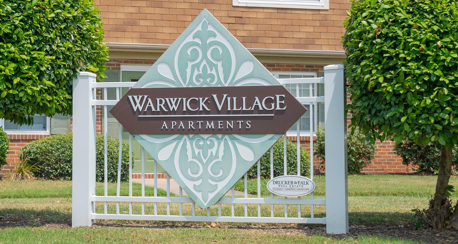 Sign at Warwick Villages Apartments in Newport News VA