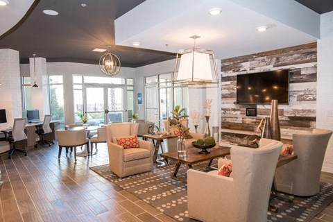 Large Clubhouse With Ample Sitting And Television at Meridian at Fairfield Park, Wilmington, NC