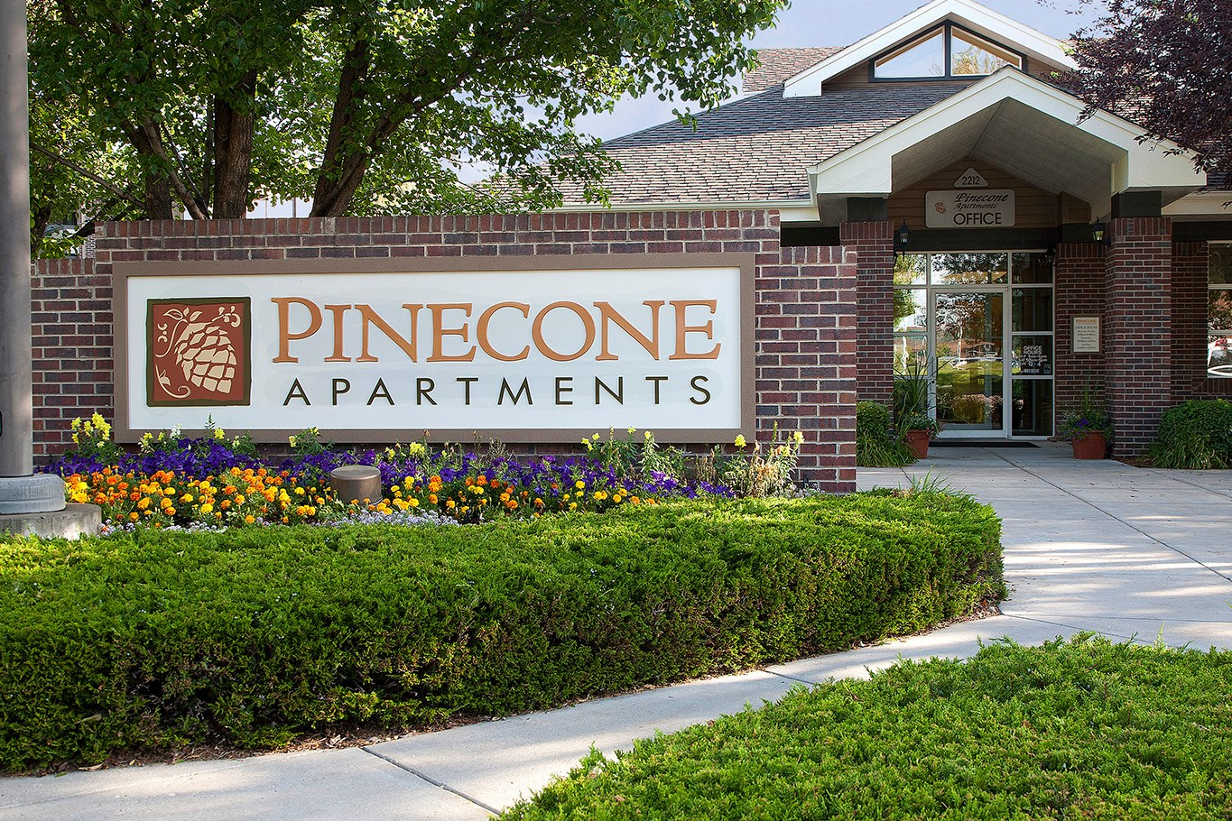 Sign at Pinecone Apartments in Fort Collins, CO