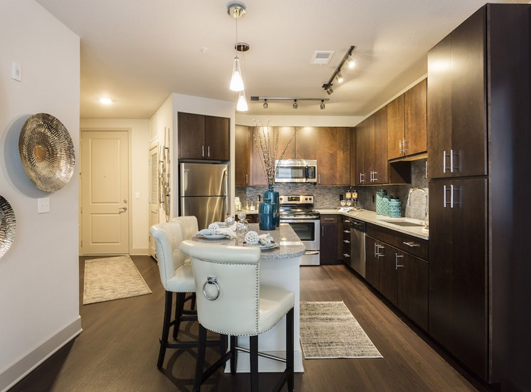 kitchen with island and custom cabinetry