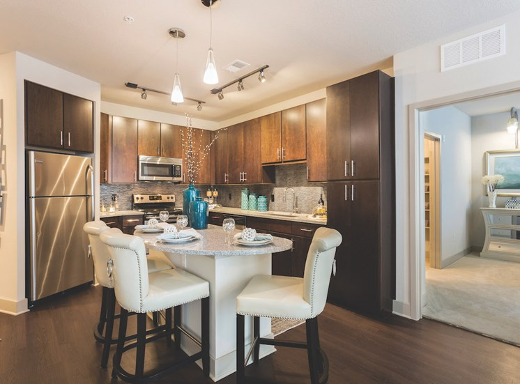 kitchen with track and pendant lighting