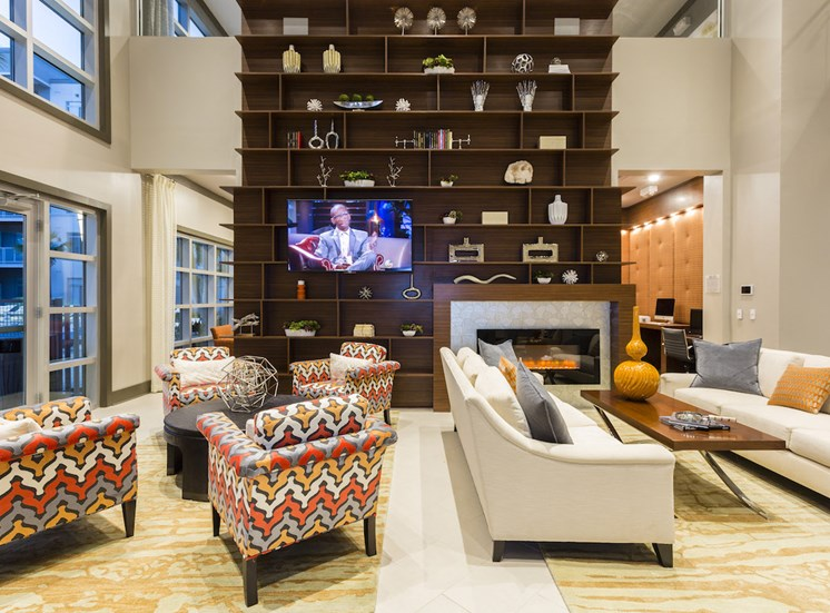 comfortable couches and chairs in resident lounge