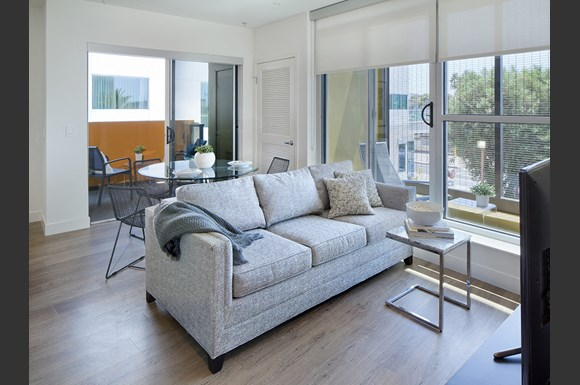 Living-Room-Private-Balcony at NMS 1539 Fourth, Santa Monica