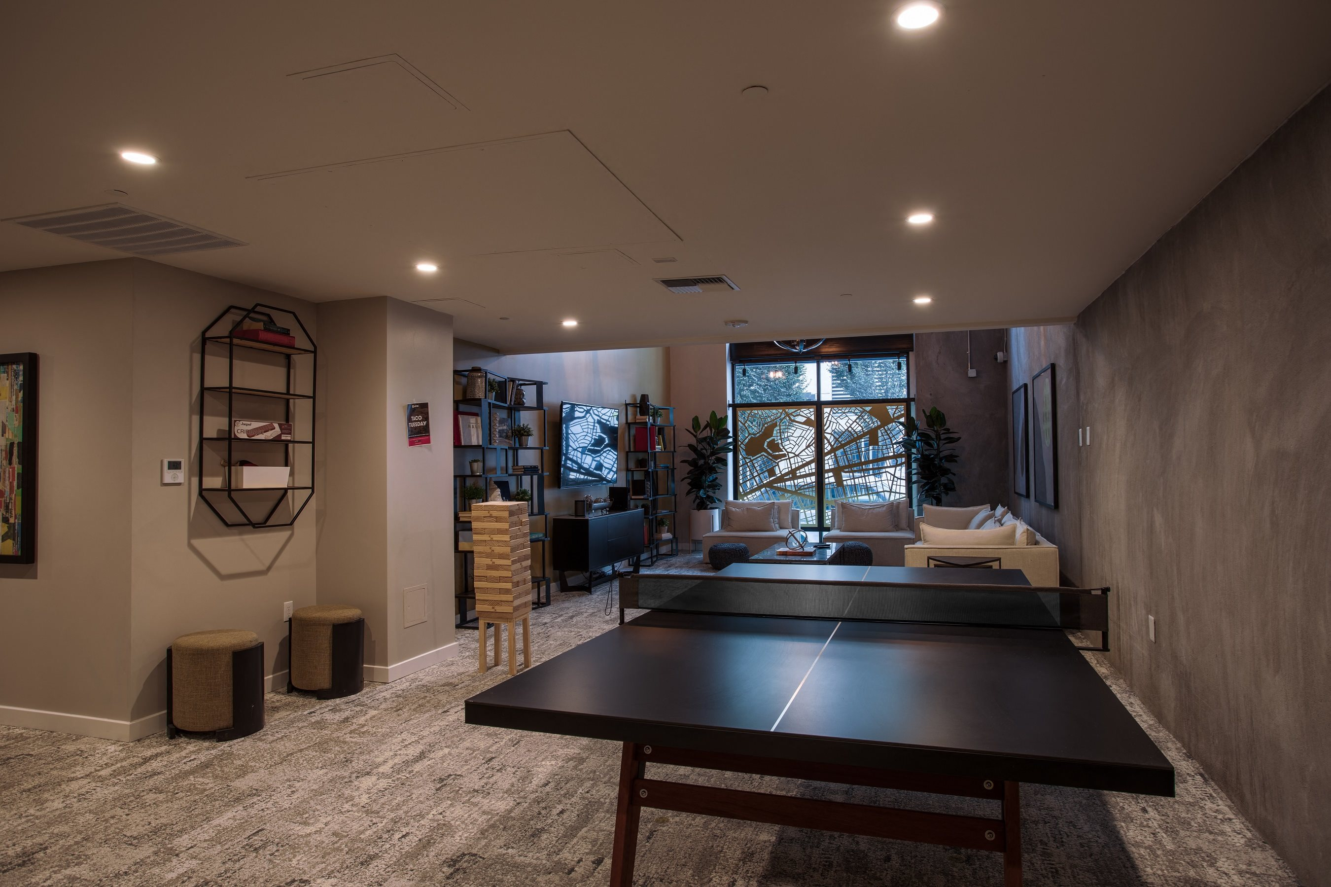 Apartments in Oakland CA - Residential Social Lounge Featuring Plenty of Exciting Amenities Such As Ping Pong Table
