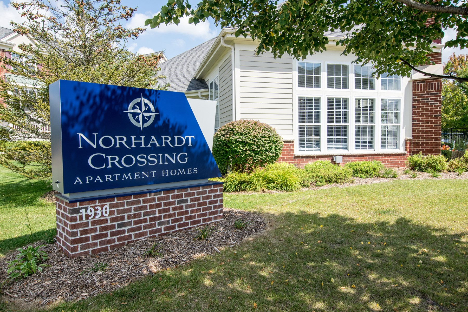 Sign at Norhardt Crossing Apartments in Brookfield, WI