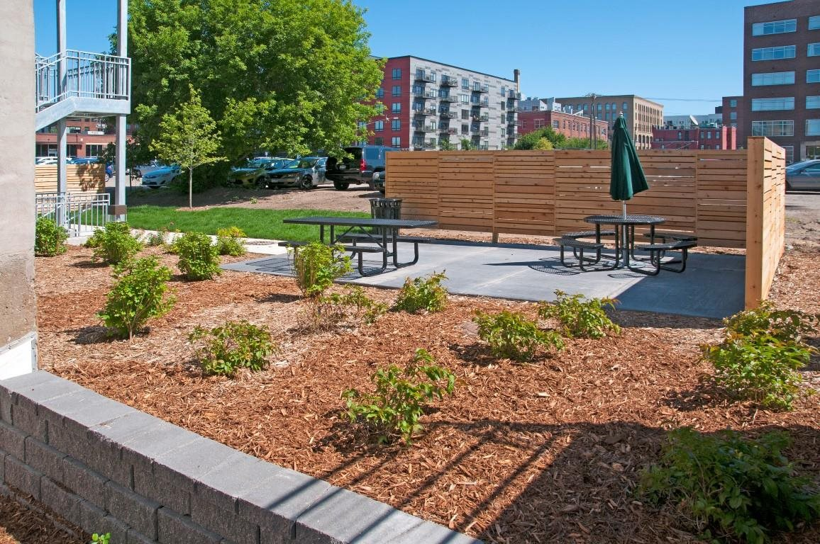 Picnic Area in Back Courtyard of Minneapolis Apartment