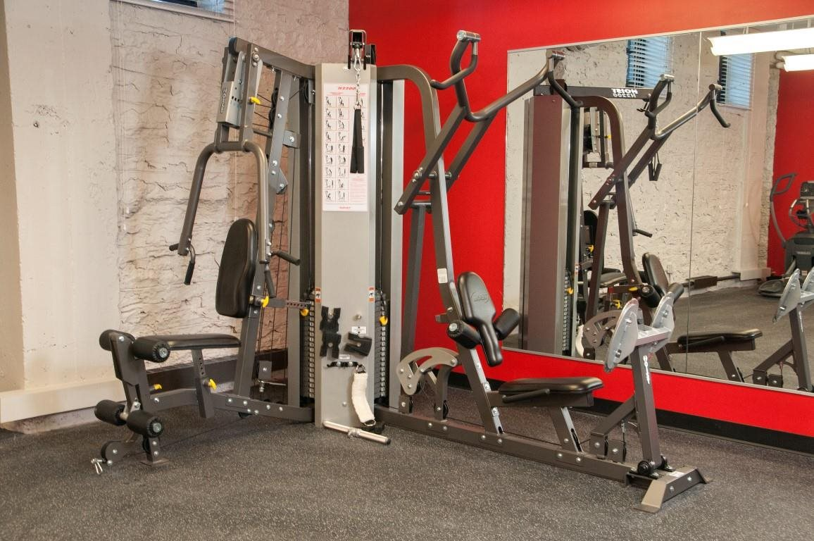 Weight Lifting Benches in Fitness Room of North Loop Apartment Building
