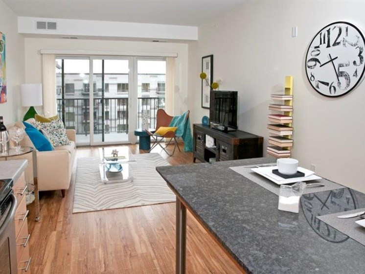 Living Room With Private Balcony at Third North, Minnesota, 55401