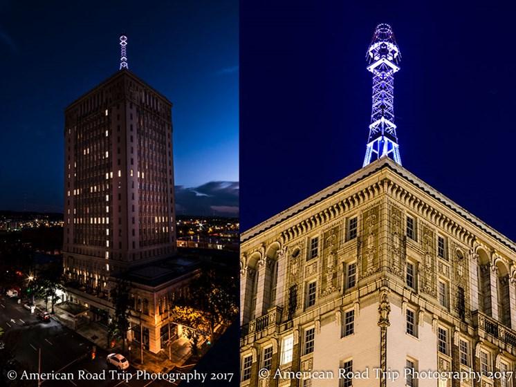 Illuminated mooring mast atop TJ Tower