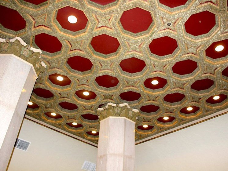 restored red and gold ceiling at Thomas Jefferson Tower