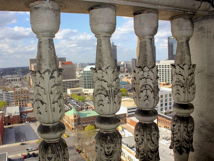 intricate balcony details at Thomas Jefferson Tower