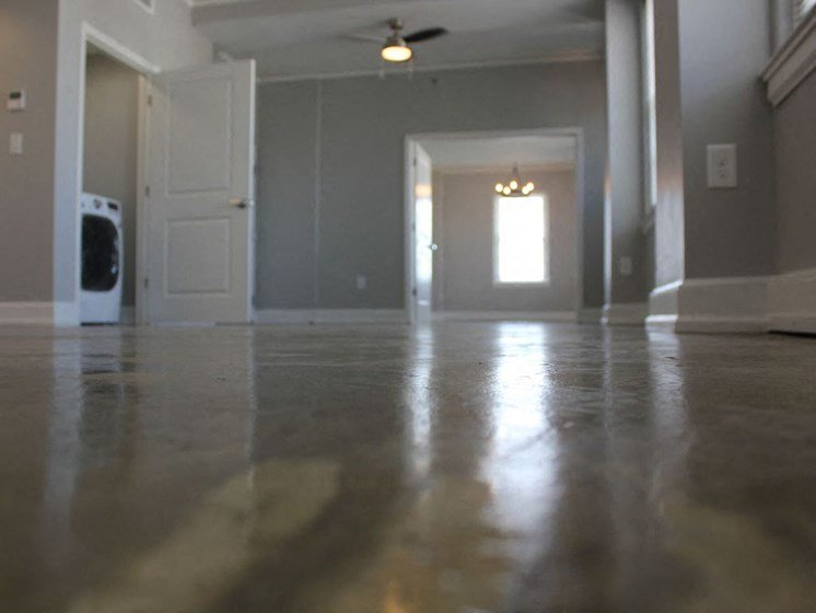 Polished concrete flooring in apartment home