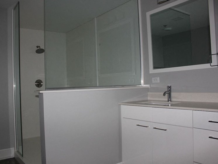 large bathroom with glass frame shower