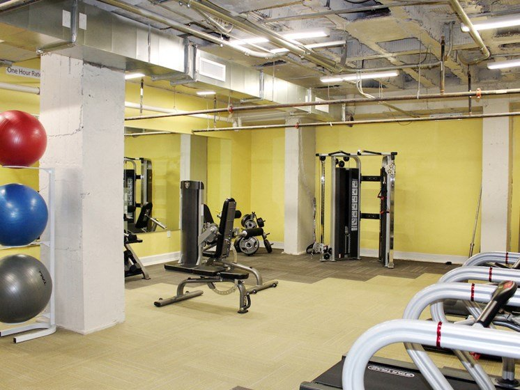 gym with modern cardio and strength training equipment