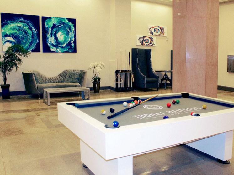 TJ Tower lobby with billiard table