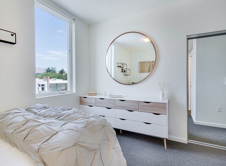 Beautiful Bright Bedroom With Wide Windows at Watercooler, Boise, ID