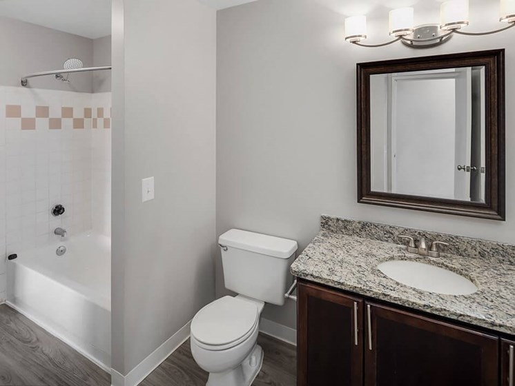 updated bathroom at The Heights Apartments