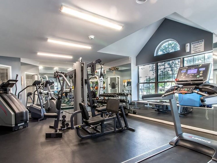 24 hour fitness center at The Heights Apartments
