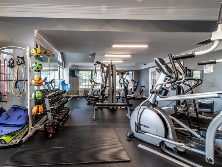fitness center at The Heights Apartments