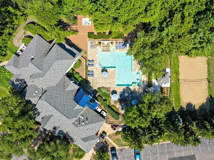 birdseye view of The Heights apartments clubhouse