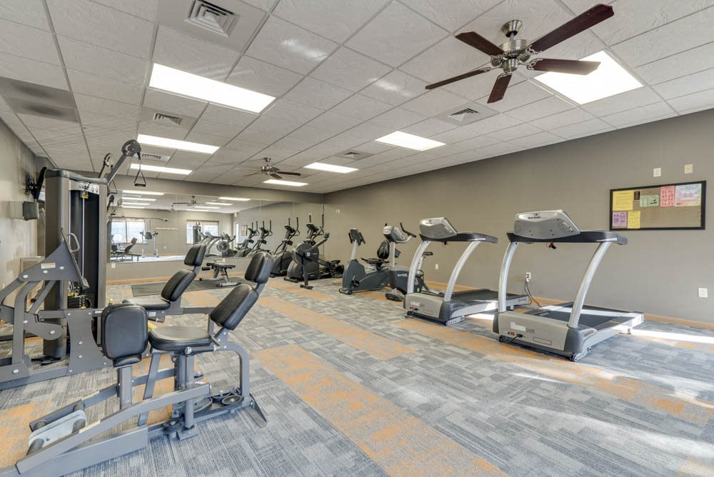 Treadmills and cardio equipment at Grand Legacy apartments and townhomes in west Omaha NE 68130