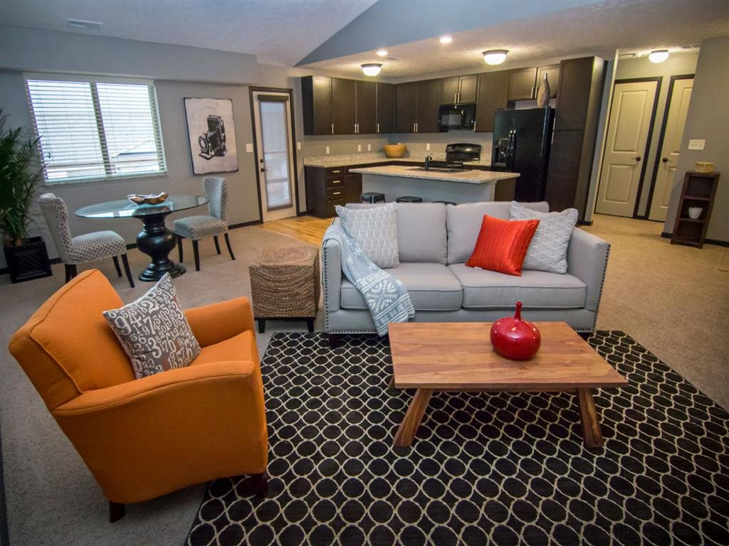 Open floorplan with spacious living room at The Flats at 84 in southeast Lincoln NE 68516