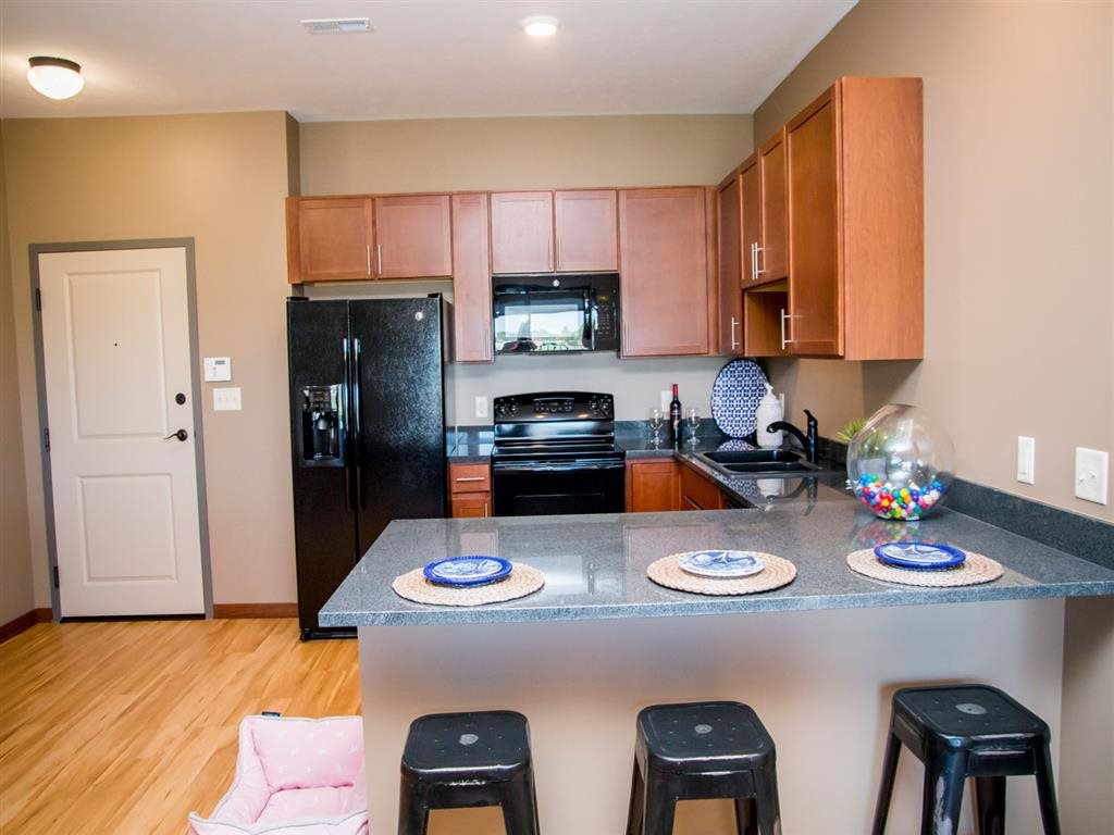 Large kitchen at The Flats at 84 apartments in Lincoln NE