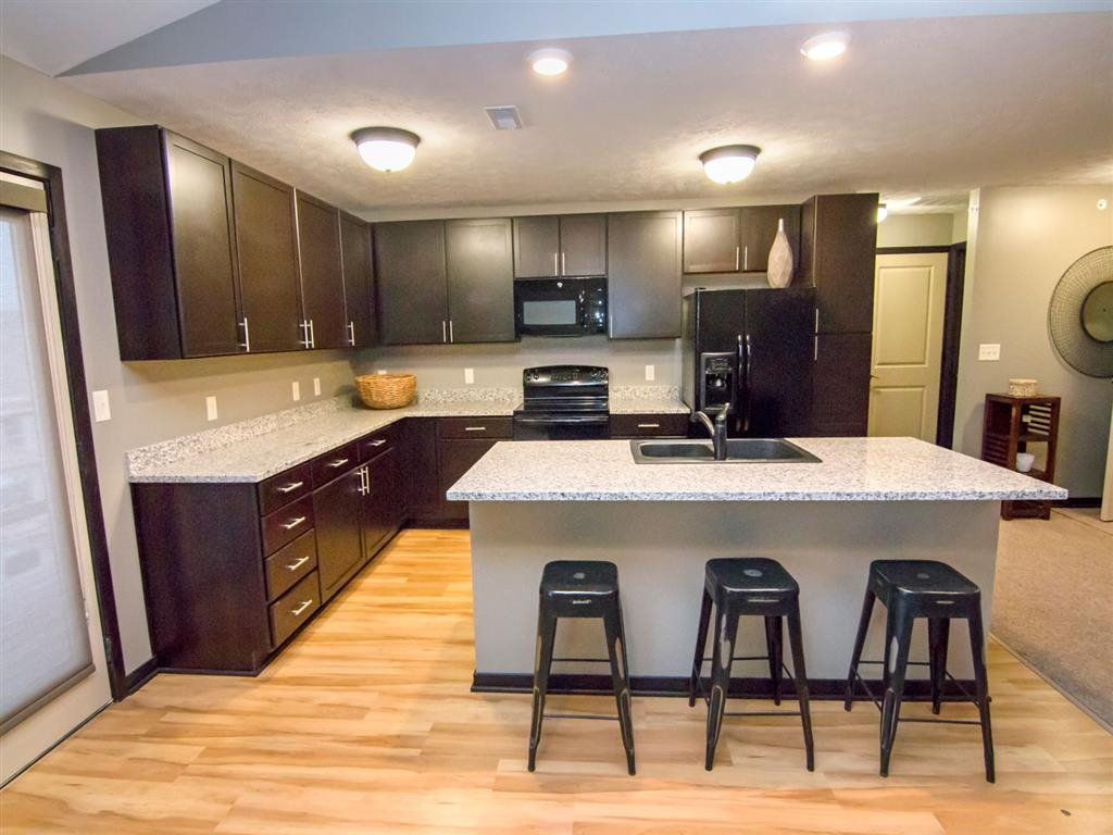 Large kitchen with island at The Flats at 84 apartments in Lincoln NE