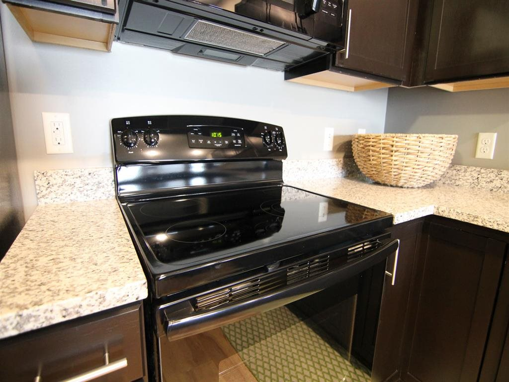 Glass-top stove at The Flats at 84 apartments in Lincoln NE