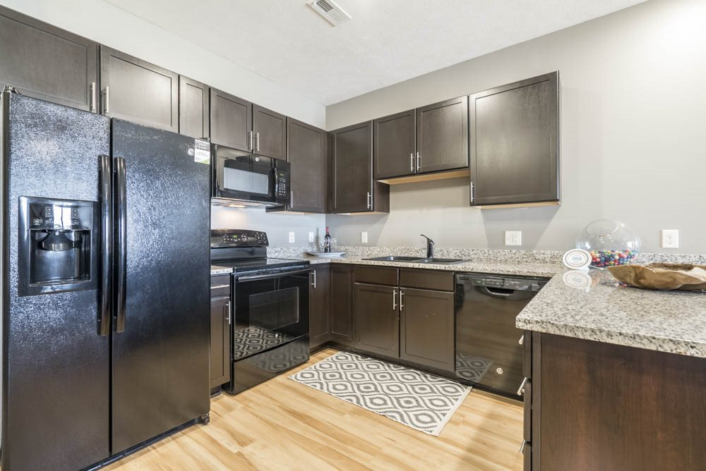 Large kitchen with granite countertops at The Flats at 84 in southeast Lincoln NE 68516