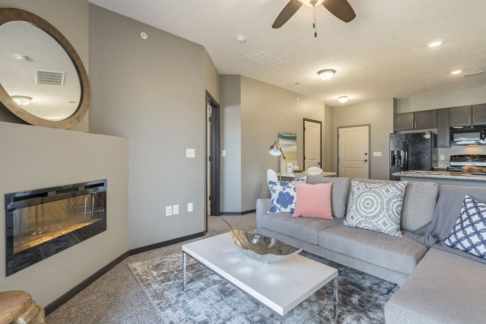 Modern fireplace in living room at The Flats at 84 in southeast Lincoln NE 68516