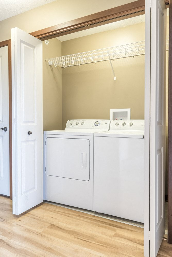 Washer and dryer included in each unit at The Flats at 84 in southeast Lincoln NE 68516
