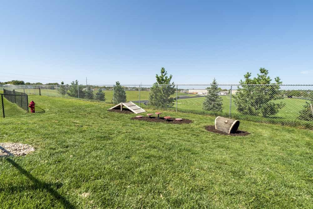 Private dog park with agility equipment at The Flats at 84 in southeast Lincoln NE 68516