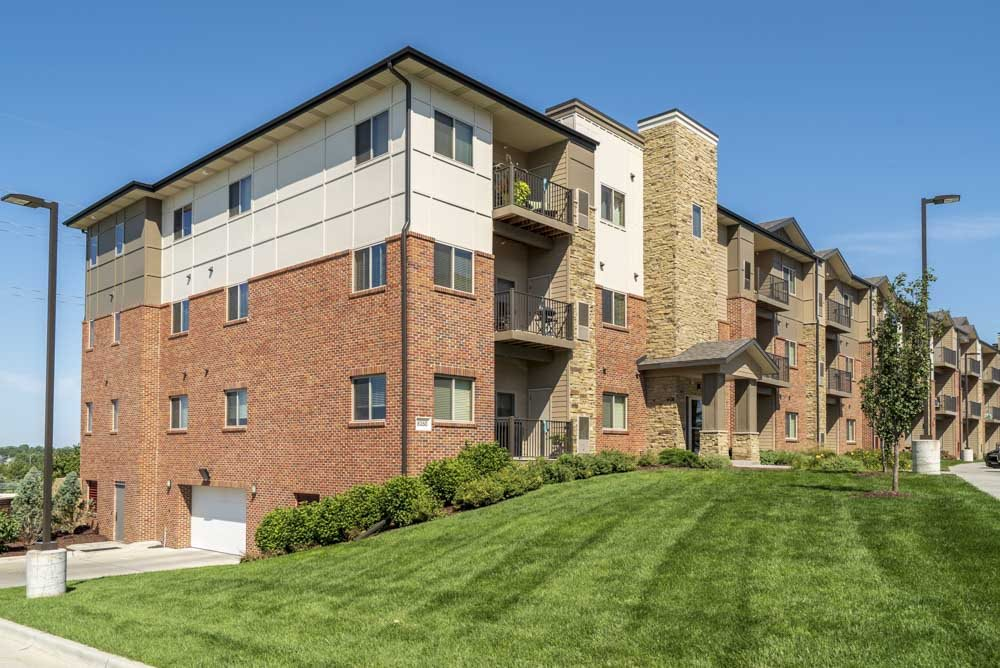 Underground parking and balconies at The Flats at 84 in southeast Lincoln NE 68516