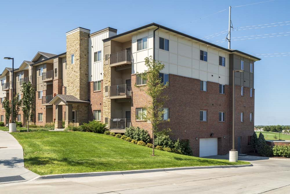 Building with underground parking at The Flats at 84 in southeast Lincoln NE 68516