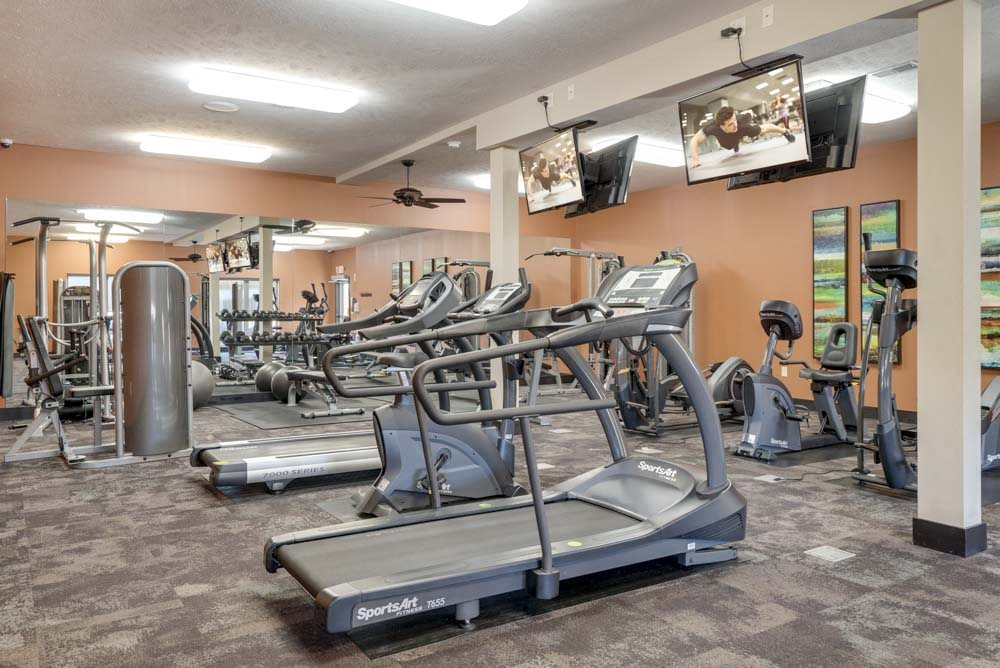 24-hour fitness center with TVs at The Flats at 84 in southeast Lincoln NE 68516