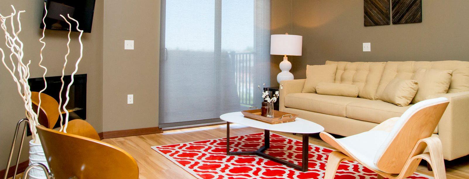 Living room at Villas of Omaha at Butler Ridge in Omaha NE