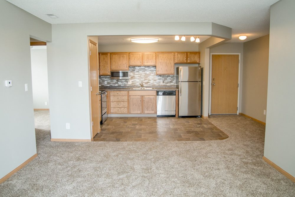 Interiors-Open concept view of living room into renovated kitchen
