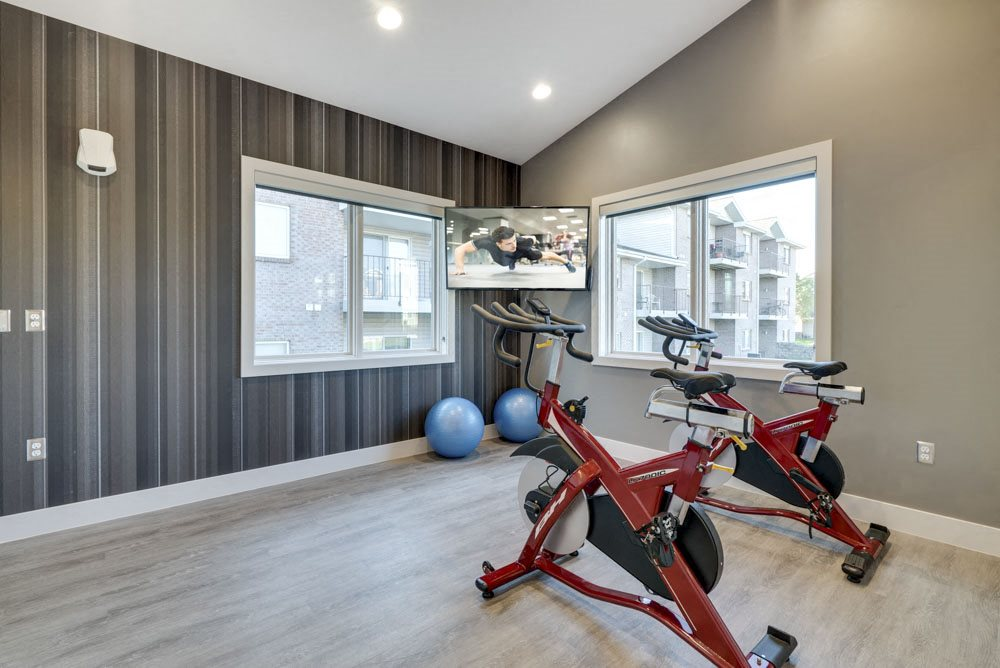 Yoga/spin studio with TV at Highland View Apartments in north Lincoln NE 68521